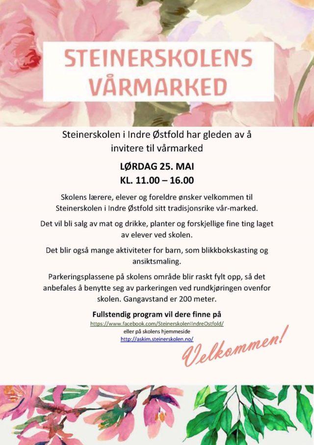 Vårmarked Steinerskolen i Indre Østfold 2019 invitasjon