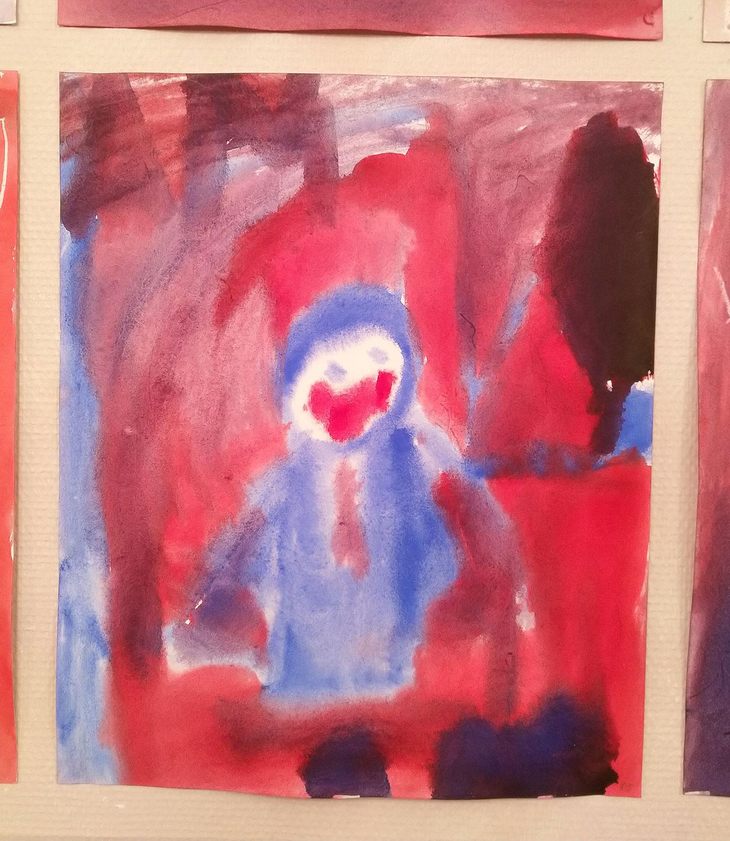 Smilenende snømann fra 2.klasse Steinerskolen i Askim