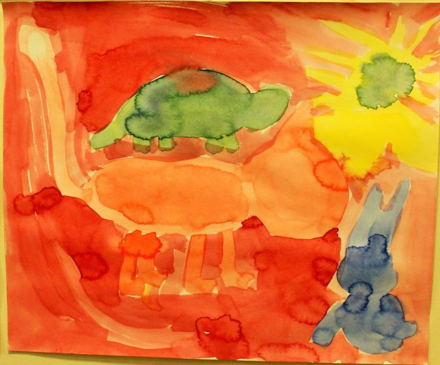 Maleri fra 3.klasse Steinerskolen i Askim
