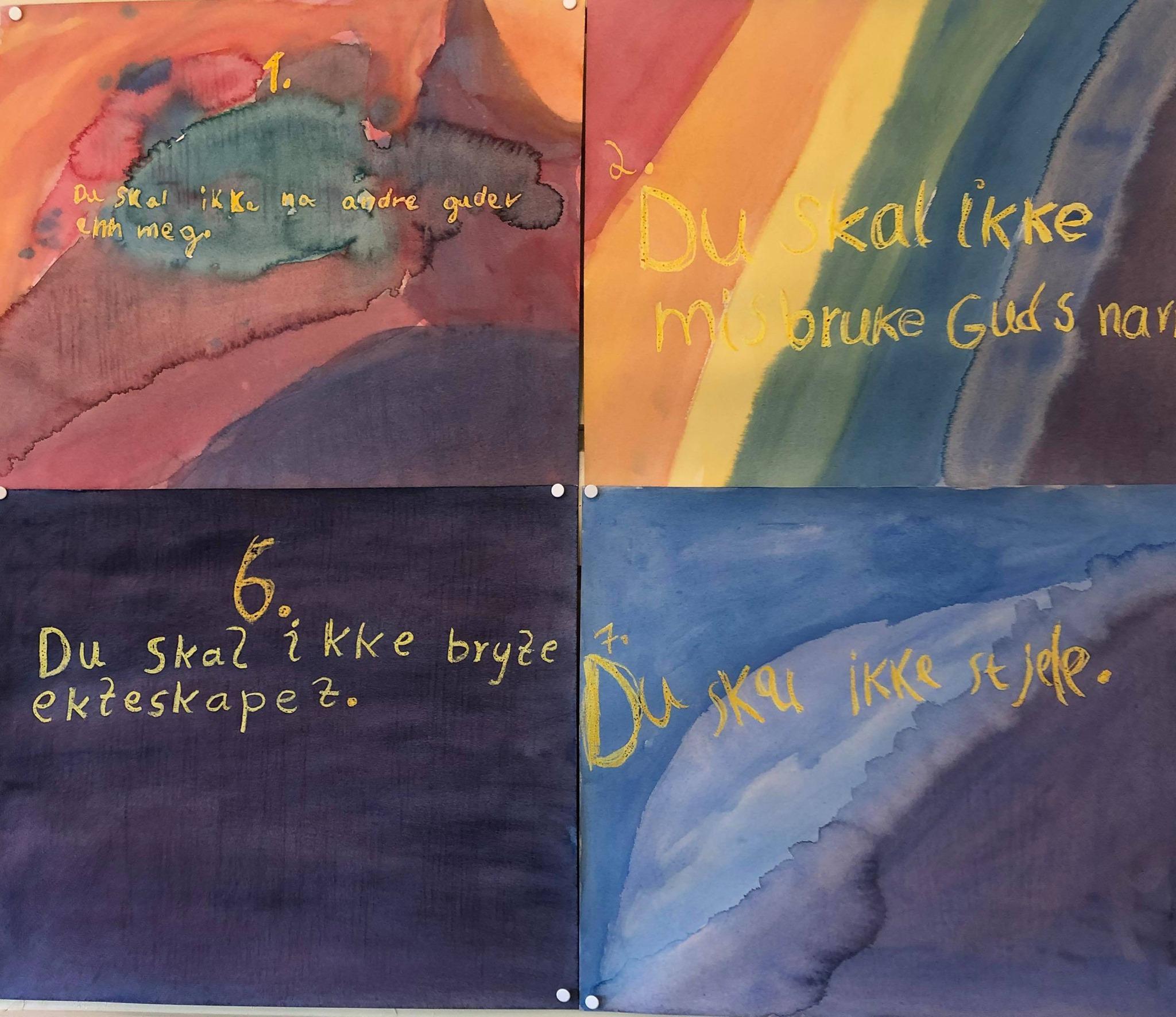 4.klasse Steinerskolen i Østfold elevarbeider - De ti bud