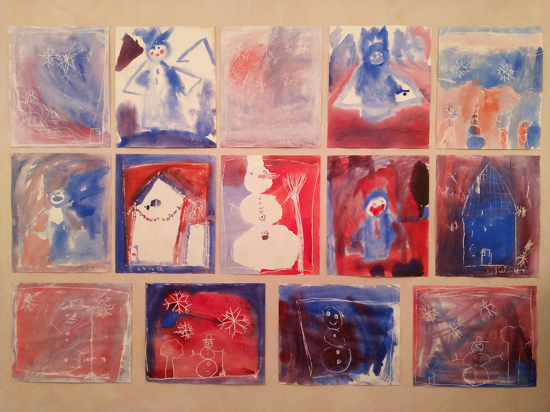 Snømannbilder fra 2.klasse på Steinerskolen i Askim